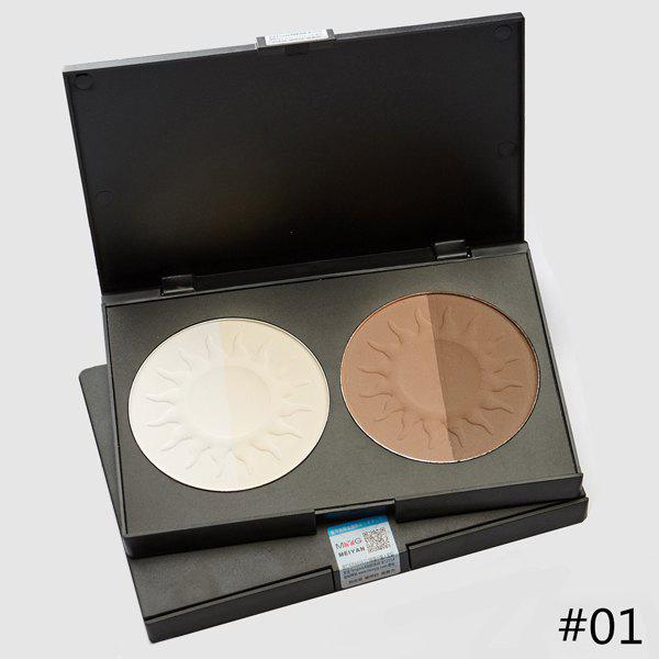Durable 4 Colours Natural Silky Waterproof Whiten Shadow Contour Pressed Powder Palette - COLORMIX