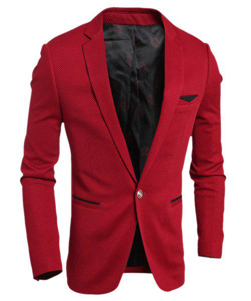 Elegant Turn-Down Collar Color Block Purfled Pocket Long Sleeve Men's Blazer - RED M