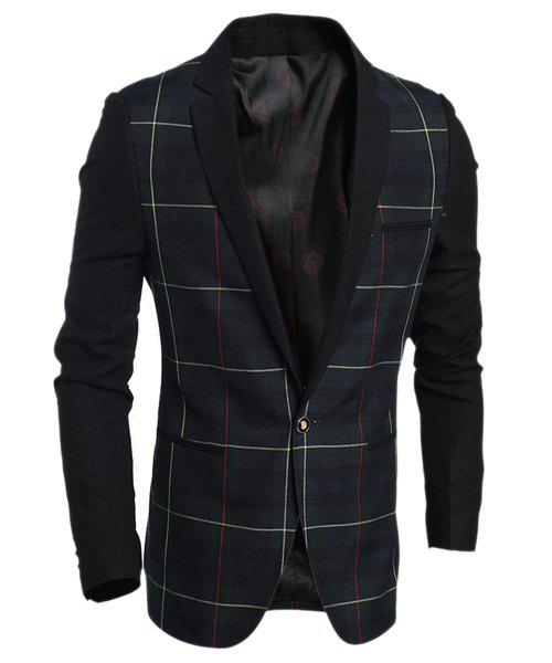 Elegant Turn-Down Collar Plaid Print Long Sleeve Men's Blazer - CADETBLUE M