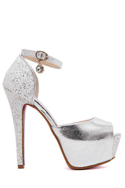 Sexy Ankle Strap and Sequins Design Peep Toe Shoes For Women - SILVER 38