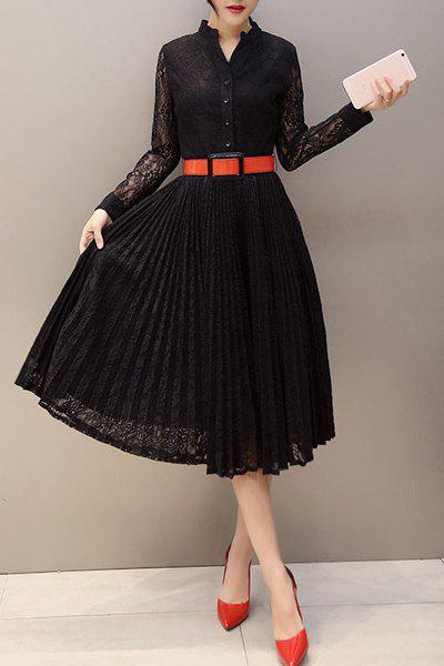 Stylish Stand-Up Collar Long Sleeve Belted Women's Lace Dress - BLACK S