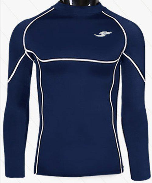 Sports Round Neck Quick-Drying Tight Long Sleeve Men's T-Shirt - CADETBLUE L