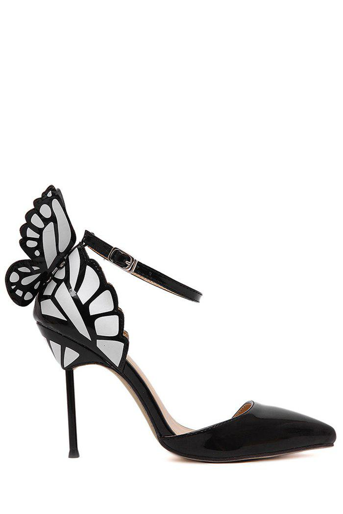 Trendy Butterfly and Ankle Strap Design Pumps For Women - BLACK 38