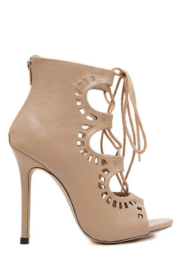 Sexy Cut Out and Cross-Strap Design Peep Toe Shoes For Women - NUDE 39