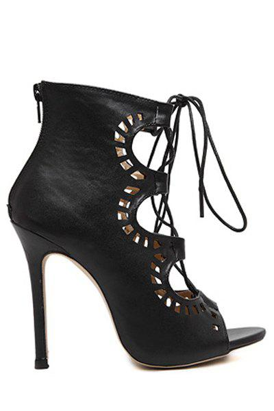 Point Heel Lace Up Cut Out Sandals - BLACK 35
