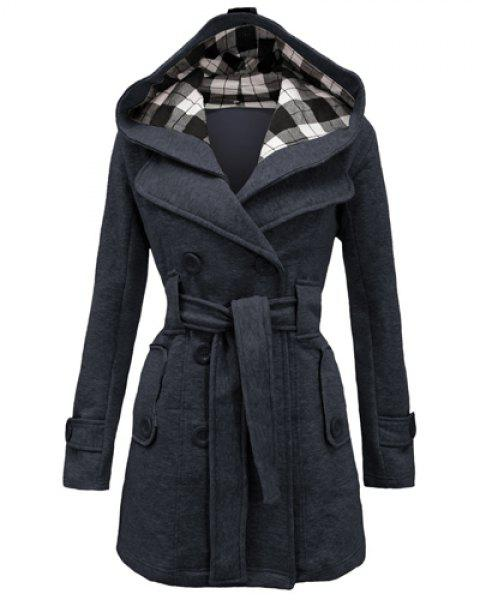 Stylish Double-Breasted Hooded Long Sleeve Worsted Coat For Women - DEEP GRAY M