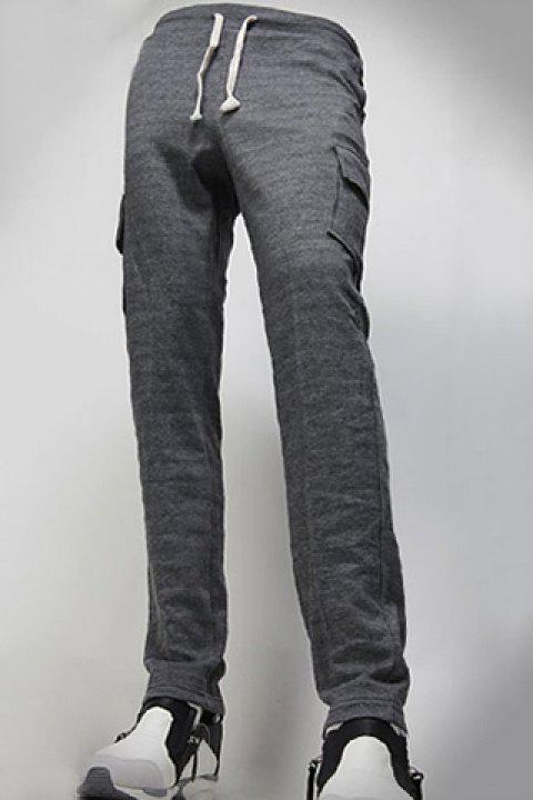 Casual Straight Leg Flap Patch Large Pocket Lace-Up Men's Pants - DEEP GRAY 2XL