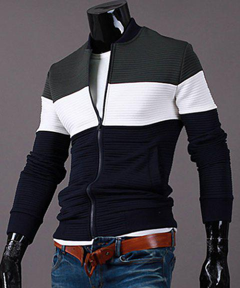 Stand Collar Color Block Splicing Rib Cuffs Long Sleeve Men's Sports Jacket - GREEN L