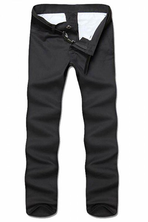 Simple Style Straight Leg Solid Color Zipper Fly Men's Nine Minutes Of Pants - DEEP GRAY 36