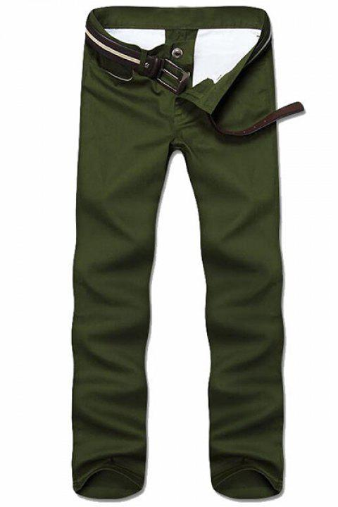 Simple Style Straight Leg Solid Color Zipper Fly Men's Nine Minutes Of Pants - ARMY GREEN 30