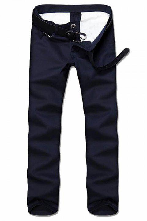 Simple Style Straight Leg Solid Color Zipper Fly Men's Nine Minutes Of Pants - CADETBLUE 34