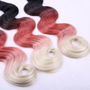 Vogue Long Body Wave 3 Pcs/Lot Three Color Ombre Women's Synthetic Hair Weave - 14INCH*16INCH*16INCH 14INCH*16INCH*16INCH