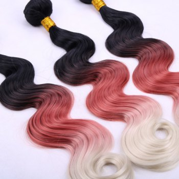 Vogue Long Body Wave 3 Pcs/Lot Three Color Ombre Women's Synthetic Hair Weave - OMBRE 14INCH*16INCH*16INCH