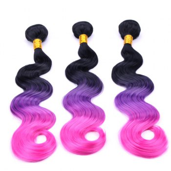 Stylish Three Color Ombre Synthetic Long Body Wavy 3 Pcs/Lot Hair Weave For Women