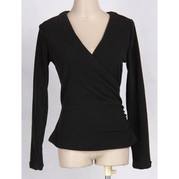 Chic V-Neck Long Sleeve Self-Tie Bowknot Pattern Solid Color Women's T-Shirt - BLACK ONE SIZE(FIT SIZE XS TO M)