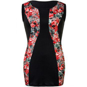 Charming Red Floral Print Sleeveless Bodycon Mini Dress For Women