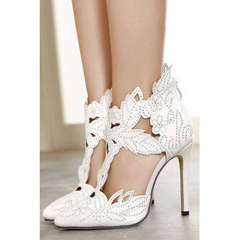 Stylish Hollow Out and Rhinestones Design Pumps For Women - WHITE 36