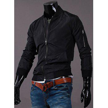 Stand Collar Solid Color Zipper Pocket Rib Cuffs Long Sleeve Men's Jacket