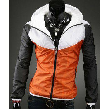 Hooded Color Block Splicing Zipper Pockets Long Sleeve Men's Sports Jacket