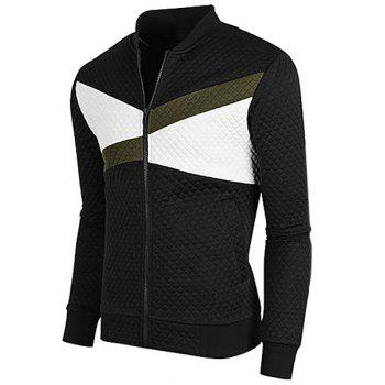 Stand Collar Rib Cuffs Color Block Splicing Long Sleeve Men's Jacket - BLACK M