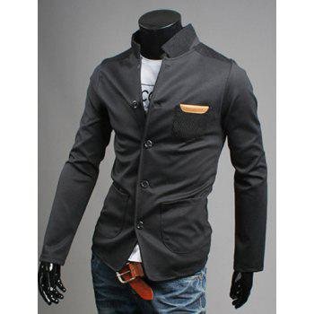 Modish Stand Collar Patch Pocket Long Sleeve Men's Single Breasted Jacket
