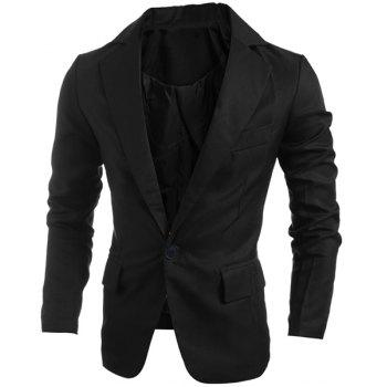 Elegant Turn-Down Collar Pure Color Long Sleeve Men's Single Breasted Blazer