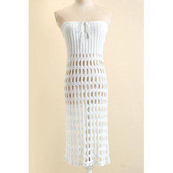 Sexy Women's Strapless Hollow Knitted Dress