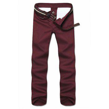 Simple Style Straight Leg Solid Color Zipper Fly Men's Nine Minutes Of Pants