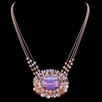 Faux Crystal Beads Oval Pendant Necklace - ROSE GOLD