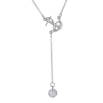 Rhinestoned Anchor Necklace - SILVER