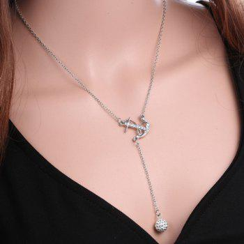 Rhinestoned Anchor Necklace
