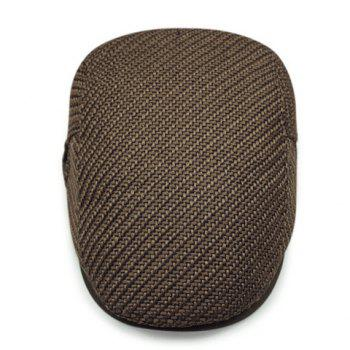 Stylish Solid Color Ramie Cotton Fabric Men's Beret - COFFEE