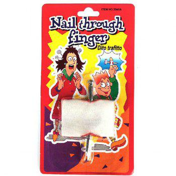 Novelty April Fool's Day Nail Through Finger Magic Tricky Toy - WHITE