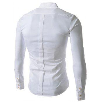 Stand Collar Slim Fit Solid Color Long Sleeve Men's Shirt - WHITE 2XL