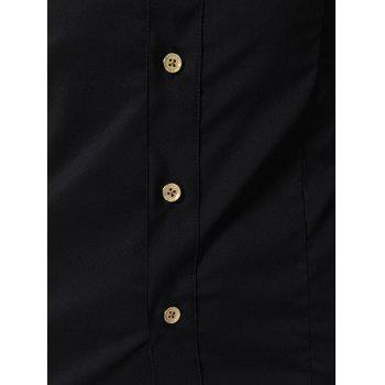 Stand Collar Slim Fit Solid Color Long Sleeve Men's Shirt - BLACK M