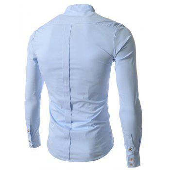 Stand Collar Slim Fit Solid Color Long Sleeve Men's Shirt - BLUE 2XL