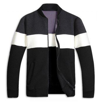 Stand Collar Color Block Splicing Rib Cuffs Long Sleeve Men's Sports Jacket - DEEP GRAY L