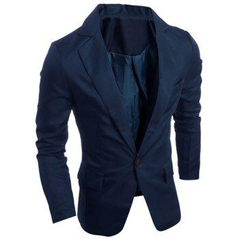 Elegant Turn-Down Collar Pure Color Long Sleeve Men's Single Breasted Blazer - CADETBLUE 2XL