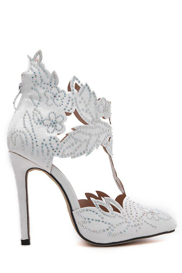 Stylish Hollow Out and Rhinestones Design Pumps For Women - 36 WHITE
