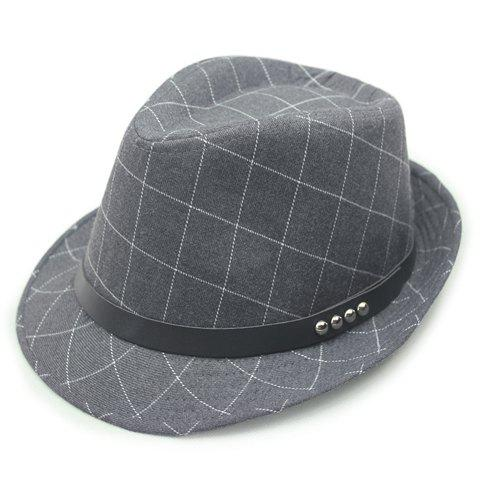 Chic Stud PU Belt Embellished Gingham Jazz Hat For Women - GRAY