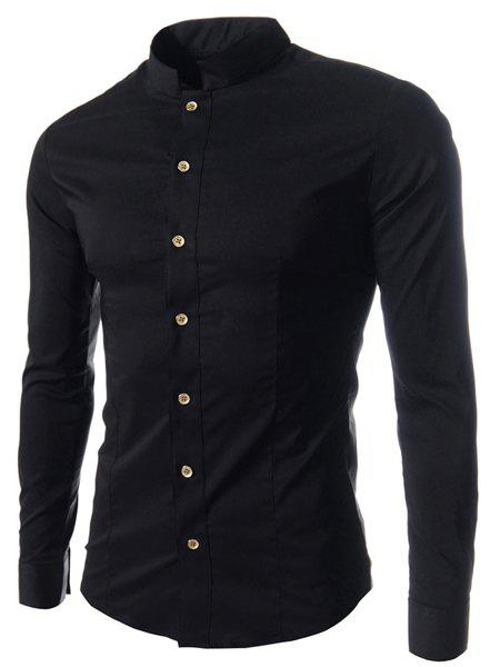 Stand Collar Slim Fit Solid Color Long Sleeve Men's Shirt