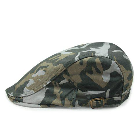 Stylish Camouflage Pattern Adjustable Buckle Men's Beret - BLACKISH GREEN