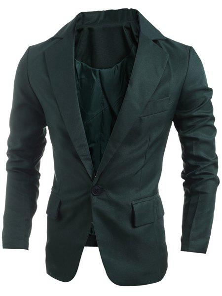 Elegant Turn-Down Collar Pure Color Long Sleeve Men's Single Breasted Blazer - BLACKISH GREEN 2XL