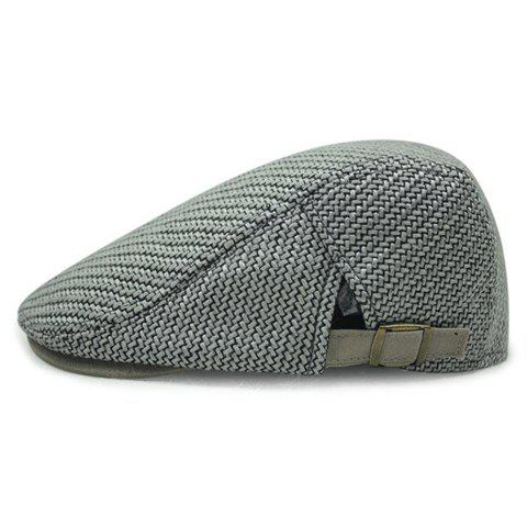 Stylish Solid Color Ramie Cotton Fabric Men's Beret - LIGHT GRAY