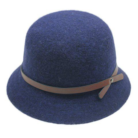 Chic PU Strappy Embellished Solid Color Women's Faux Wool Bucket Hat - CADETBLUE