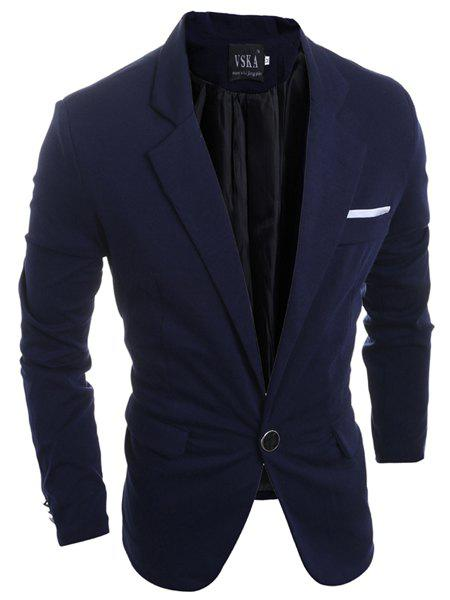 Elegant Turn-Down Collar Pure Color Back Slit Long Sleeve Men's Blazer - CADETBLUE L