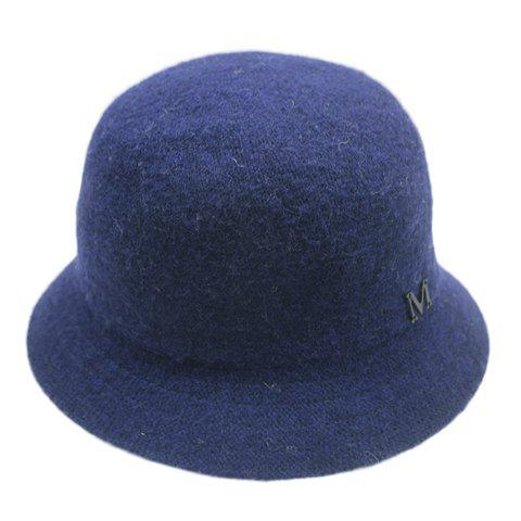 Chic Letter M Shape Embellished Solid Color Women's Winter Bucket Hat -  CADETBLUE