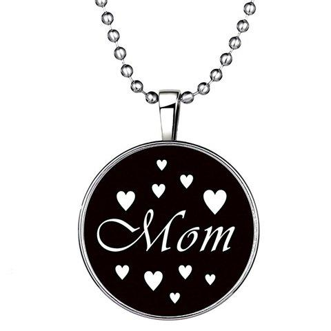 Chic Round Mom Heart Pattern Beads Necklace For Women - SILVER