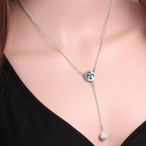 Vintage Rhinestoned Round Sequin Necklace For Women - SILVER