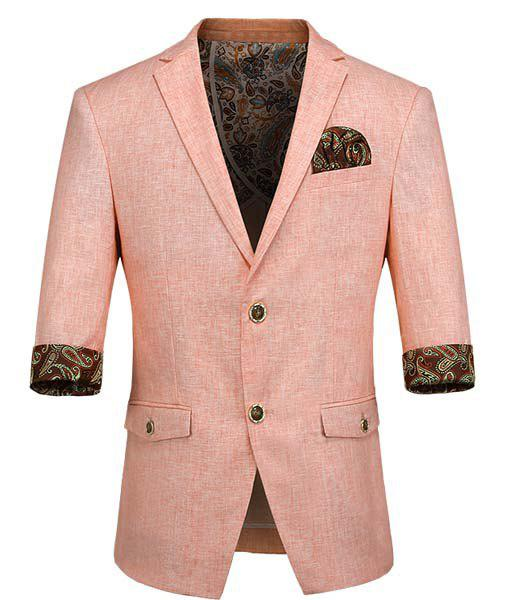 Slimming Three Quarter Sleeves Single Breasted Seam Pocket Blazer For Men - PINK 2XL